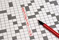 stock image of  Deportation. Text in crossword. Red letters