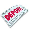 Deposit Word Check Putting Money Into Your Bank Account