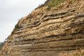 Depositional structures in suwolbong volcaniclastic deposits jeju island Royalty Free Stock Photo