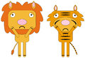 Depressed animals illustration of a tiger and lion Stock Photo