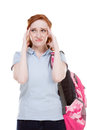 Depressed college student caucasian young woman redhead Stock Image