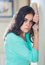 Depressed crying woman in depression at home alone Royalty Free Stock Image