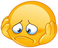 Depressed emoticon and sad with hands on face Royalty Free Stock Photography