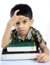 Depressed Indian School Boy Stock Images