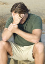Depressed lonely man Royalty Free Stock Photo