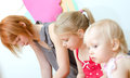 Depressed mother her two daughters Royalty Free Stock Photography