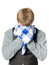 Depressed or sick man with handkerchief Stock Photo