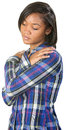 Depressed teenager black teenage female looking down Royalty Free Stock Photography