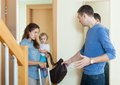 Depressed woman leaving from husband women with child her Royalty Free Stock Photo