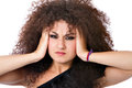 Depression curly hair woman with headache Stock Images