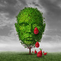 Depression and mental health concept as a tree shaped as a human head that is crying fruit shaped as tear drops as a metaphor for Royalty Free Stock Photography