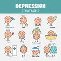 Depression treatment. Cartoon brain character