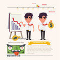 Dept man with chart infographic illustration Royalty Free Stock Photos