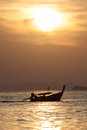 Depth of field lonely boat on the beach at sunset time Royalty Free Stock Photography