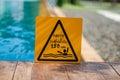 Depth warning water swimming pool Stock Images