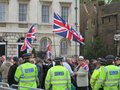 Der bnp protest in londons westminster am juni Stockbild
