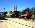 Derby Cathedral and old train. Royalty Free Stock Photo