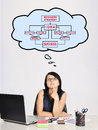 Dereaming at business strategy sad businesswoman in office Royalty Free Stock Images