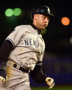 Derek Jeter rounds third base. Royalty Free Stock Photo
