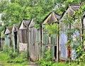 Derelict garages in derbyshire ramshackle eyesore Royalty Free Stock Images