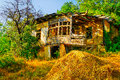 Derelict house in countryside abandoned overgrown with vegetation Royalty Free Stock Photo