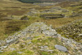 Derelict incline for slate quarry north wales disused exit the blaen y cwm snowdonia national park gwynedd united kingdom Stock Image