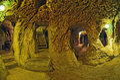 Derinkuyu cave  underground city, Cappadocia , Turkey .Travel ba Royalty Free Stock Photo