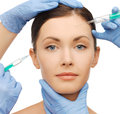 Dermall fillers injection health and beauty concept woman getting Royalty Free Stock Photo