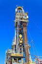 Derrick of tender drilling oil rig barge oil rig on the production platform Royalty Free Stock Photos