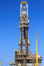 Derrick of tender drilling oil rig barge oil rig on the production platform Royalty Free Stock Images