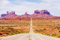 Descending into Monument Valley at Arizona border Royalty Free Stock Photo