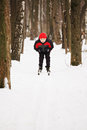 Descending from the snow hill boy on skis in forest Stock Images