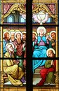 Descent of the Holy Spirit, stained glass window in Basilica Assumption of the Virgin Mary in Marija Bistrica, Croatia Royalty Free Stock Photo