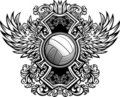 Descripteur graphique fleuri de volleyball Photos stock