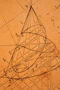 Descriptive geometry old sketch from on yellowed paper Stock Photography
