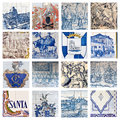 Descriptive portuguese tiles collage showing the traditional colored placed on many building facades in portugal Royalty Free Stock Photo