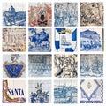 Descriptive Portuguese Tiles Collage Royalty Free Stock Photo