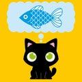 Desenhos animados cat dreaming with adorável um peixe Fotos de Stock Royalty Free