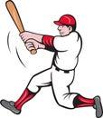 Desenhos animados da batedura do jogador de beisebol Imagem de Stock