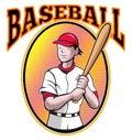 Desenhos animados da batedura do jogador de beisebol Fotografia de Stock Royalty Free