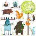 Desenhos animados forest animals set Imagens de Stock Royalty Free