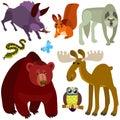 Desenhos animados forest animals set Fotos de Stock Royalty Free