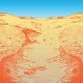 Desert afternoon lifeless landscape in the vector illustration Royalty Free Stock Photo