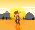 A desert with an armed cowboy illustration of Stock Images