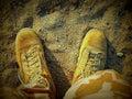 Desert boots in sandbox czech camo with us gore tex little Stock Photo