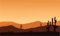 Desert Cactus Silhouette And S...