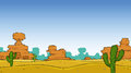 Desert a cartoon landscape illustration Royalty Free Stock Photo