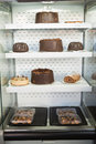 Desert case with delicious cakes Royalty Free Stock Photo