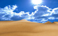 Desert clear sky with the sun shining over the Royalty Free Stock Photos