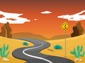 A desert with a curve road illustration of Royalty Free Stock Image